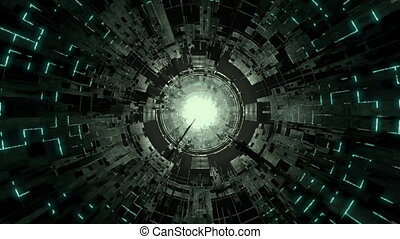 Sci-fi Futuristic Tunnel - Sci-fi seamlessly looping space...