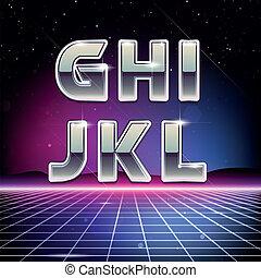 sci-fi, g, l, retro, 80s, fonte