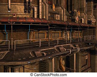 SCI-FI industrial town - 3D rendered sci-fi scene of...
