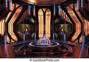 Sci-Fi interior design - Sci-Fi space station interior 3d...