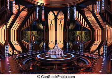 Sci-Fi interior design - Sci-Fi space station interior 3d...