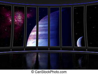 Fantasy illustration of interior science fiction ship.