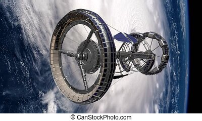 Sci Fi International Space Station ISS spaceship revolving...
