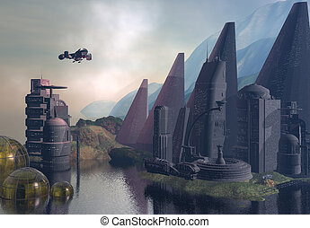 Sci-Fi Landscape - A fantastical depiction of an...