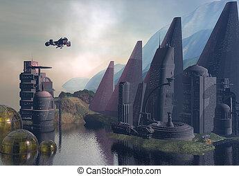 Sci-Fi Landscape - A fantastical depiction of an...