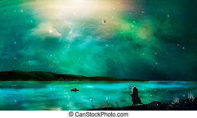 Sci-fi landscape digital painting with dragon nebula, magician, and ship on lake in green color. Elements furnished by NASA. 3D rendering