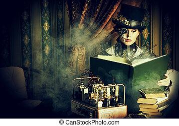 sci-fi life - Portrait of a beautiful steampunk woman over...