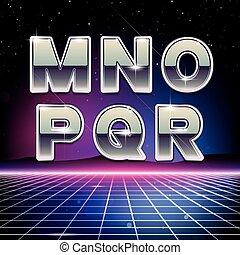 sci-fi, m, r, retro, 80s, fonte