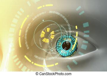 sci-fi, oeil, modèle, artificiel, plastique