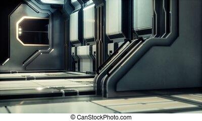 sci-fi, ou, vaisseau spatial, tunnel, couloir