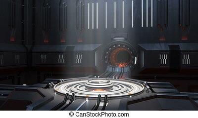 Sci-fi portal scene. 360-degree panorama. loop-able...