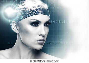 sci-fi, résumé, avenir, conception, femme femelle, portrait, ton