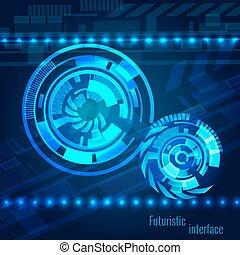 sci-fi, résumé, interface, fond, technologie, futuriste, utilisateur