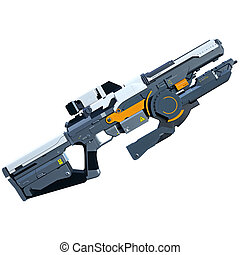 Sci-fi rifle - Futuristic assault weapon placed on white...