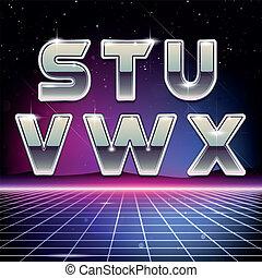 sci-fi, s, retro, 80s, x, fonte
