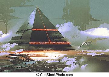 futuristic black pyramid floating over earth surface -...
