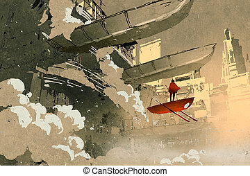the man on the flying vehicle floating in futuristic city