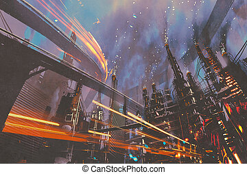futuristic city with industrial buildings