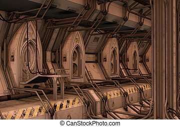 Sci-fi space dock station - 3D rendered illustration of...