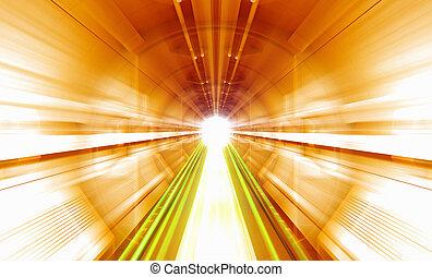 Sci Fi tunnel. Blurred motion