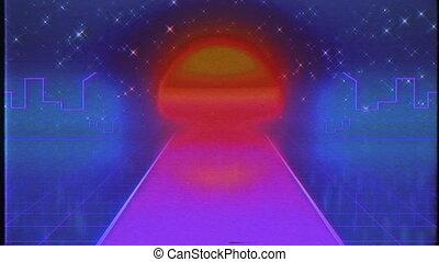 sci-fi., vol, route, sur, retro, 80s, futuriste