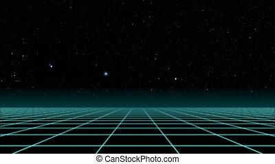 sci-fi., vol, sur, retro, 80s, grille