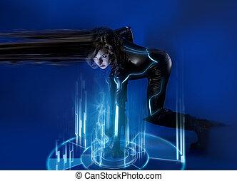 Sci-fi woman in blue neon lights, travel time, modern fiction