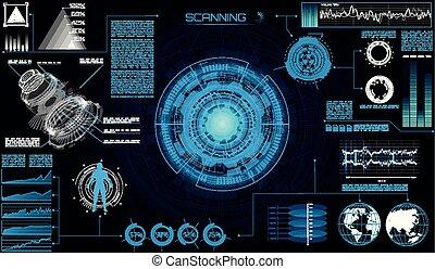 sci, moderne, interface utilisateur, fi, futuriste