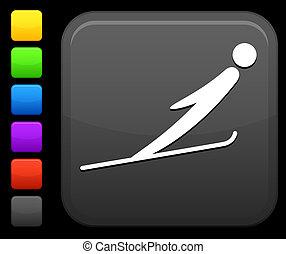 sci saltando, icona, su, quadrato, internet, bottone