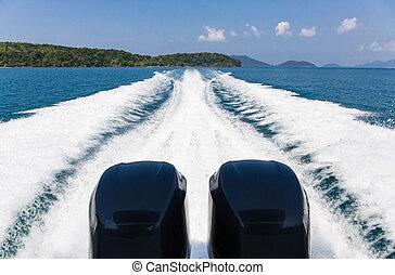 scia, di, barca velocità