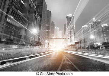 sciangai, notte, finanza, moderno, fondo, zona, città, ...