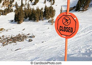 sciare, chiuso, segno