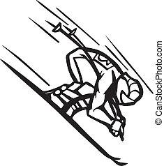 sciare, &, snowboarding