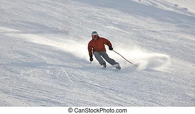 sciare, su, su, ora, a, inverno, stagione