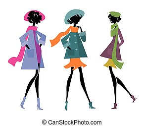 sciarpe, tre donne