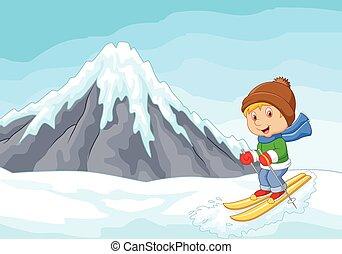sciatore alpino, estremo, cartone animato, piste