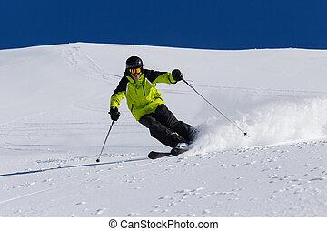 sciatore alpino, su, piste, sciare discesa