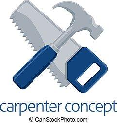 scie, concept, marteau, charpentier