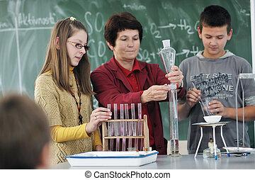 science, école, classes, chimie