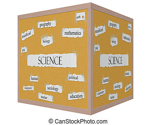 Science 3D Cube Corkboard Word Concept