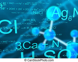 science - 3d rendered illustration of molecules and formulas...