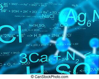 3d rendered illustration of molecules and formulas