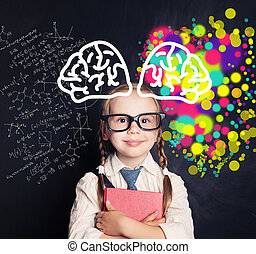 Science and arts in education. Right and left hemispheres of the brain concept. Happy child on blackboard