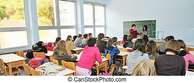 science and chemistry classees at school with smart children...