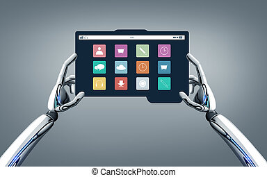 science and future technology concept - robot hands with menu icons on tablet pc screen over gray background