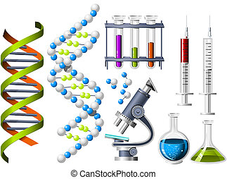 Science and Genetics icons - DNA strand and laboratory equipment