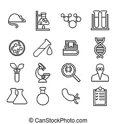 Science and laboratory icons set. Trendy flat style for graphic design, web-site. Stock Vector illustration.