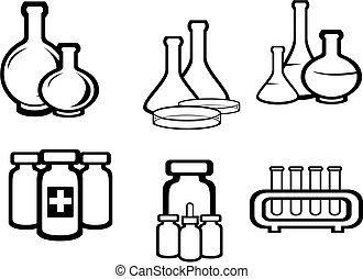 Science and medical flasks - Set of chemical and medical...