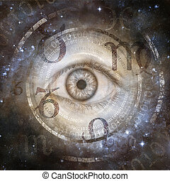 Eye encircled by montage of digital binary number sequences and zodiac star signs against a galactic background suggesting conflict between scientific and superstitious belief.