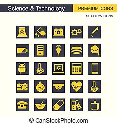 Science and Technology icons set grey and yellow